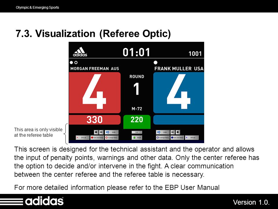 Olympic & Emerging Sports Version 1.0. 7.3. Visualization (Referee Optic) This screen is designed for the technical assistant and the operator and all