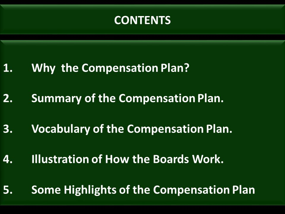 CONTENTS 1.Why the Compensation Plan? 2.Summary of the Compensation Plan. 3.Vocabulary of the Compensation Plan. 4.Illustration of How the Boards Work