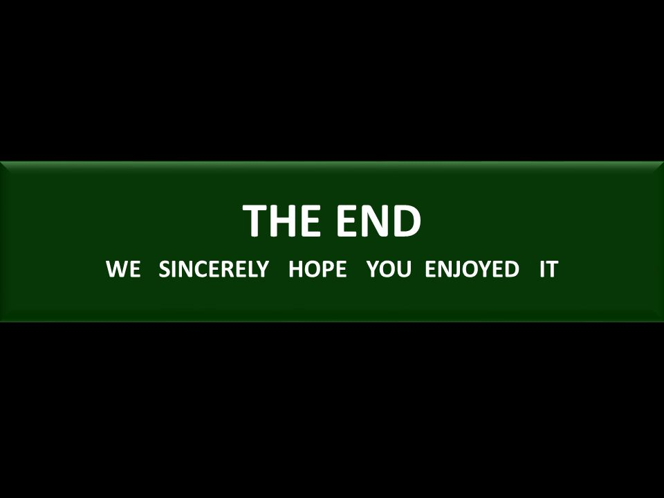 THE END WE SINCERELY HOPE YOU ENJOYED IT