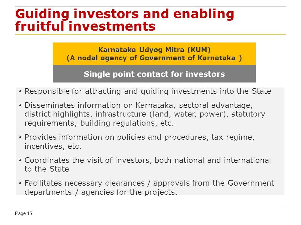 Page 15 Guiding investors and enabling fruitful investments Karnataka Udyog Mitra (KUM) (A nodal agency of Government of Karnataka ) Single point cont