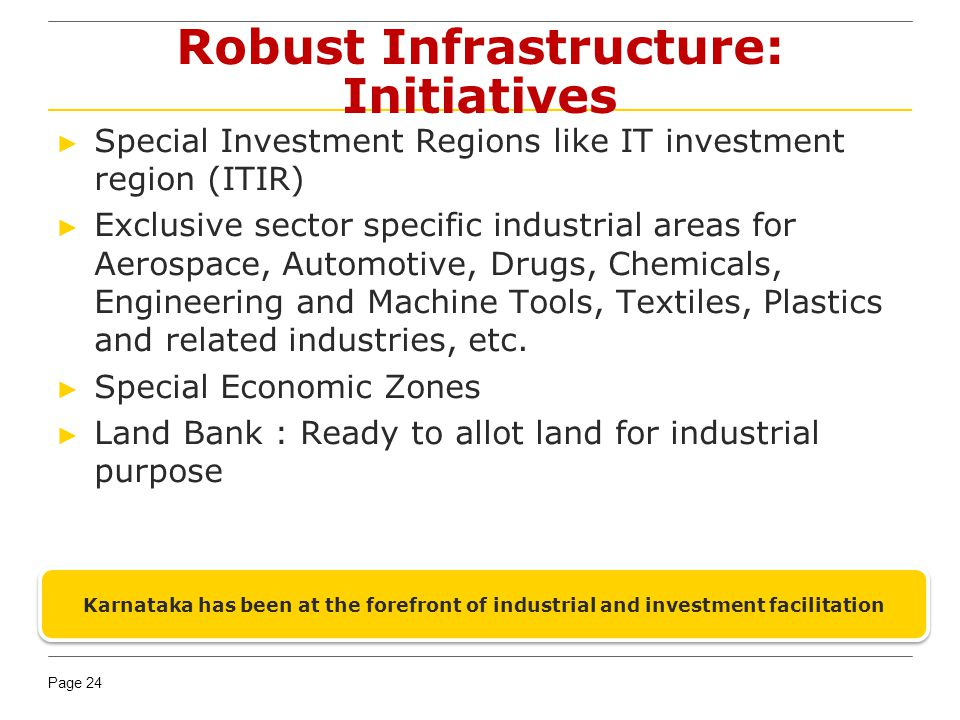 Page 24 Robust Infrastructure: Initiatives Special Investment Regions like IT investment region (ITIR) Exclusive sector specific industrial areas for