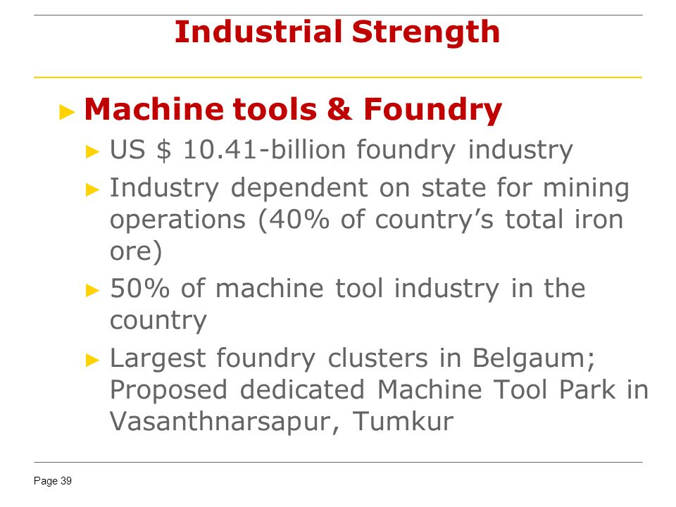 Page 39 Machine tools & Foundry US $ 10.41-billion foundry industry Industry dependent on state for mining operations (40% of countrys total iron ore) 50% of machine tool industry in the country Largest foundry clusters in Belgaum; Proposed dedicated Machine Tool Park in Vasanthnarsapur, Tumkur Industrial Strength