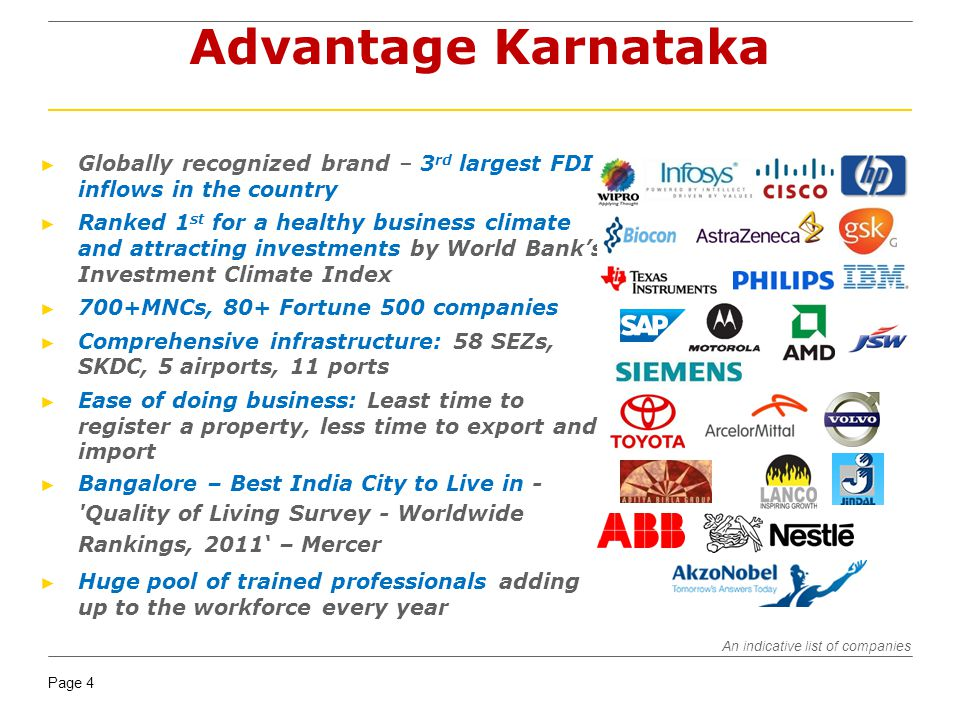 Page 4 Advantage Karnataka Globally recognized brand – 3 rd largest FDI inflows in the country Ranked 1 st for a healthy business climate and attracti