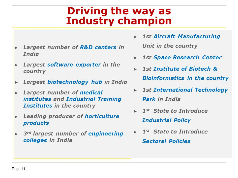 Page 41 Driving the way as Industry champion Largest number of R&D centers in India Largest software exporter in the country Largest biotechnology hub