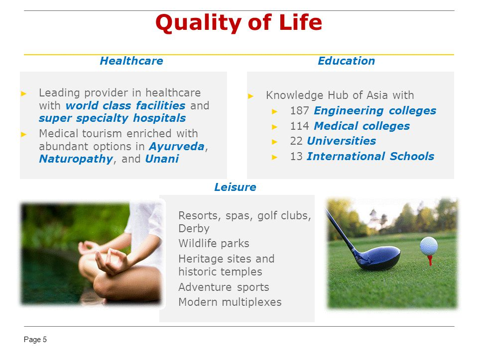 Page 5 Quality of Life Leading provider in healthcare with world class facilities and super specialty hospitals Medical tourism enriched with abundant options in Ayurveda, Naturopathy, and Unani Knowledge Hub of Asia with 187 Engineering colleges 114 Medical colleges 22 Universities 13 International Schools Resorts, spas, golf clubs, Derby Wildlife parks Heritage sites and historic temples Adventure sports Modern multiplexes HealthcareEducation Leisure