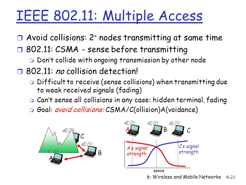 6: Wireless and Mobile Networks6-21 IEEE 802.11: Multiple Access r Avoid collisions: 2 + nodes transmitting at same time r 802.11: CSMA - sense before