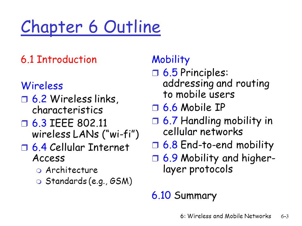 6: Wireless and Mobile Networks6-3 Chapter 6 Outline 6.1 Introduction Wireless r 6.2 Wireless links, characteristics r 6.3 IEEE 802.11 wireless LANs (