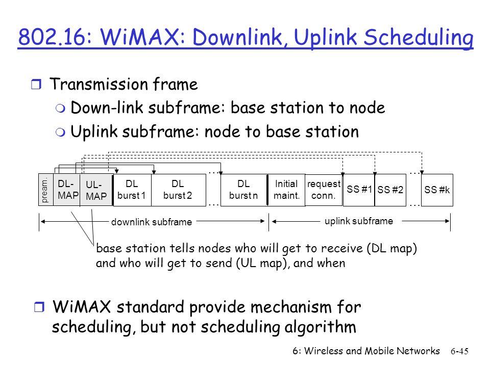 6: Wireless and Mobile Networks6-45 802.16: WiMAX: Downlink, Uplink Scheduling r Transmission frame m Down-link subframe: base station to node m Uplin