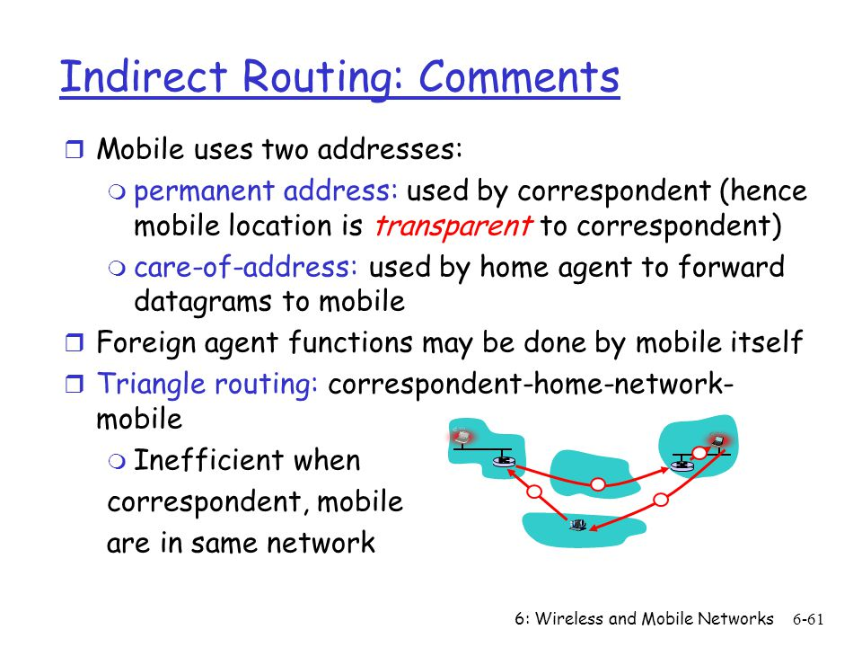 6: Wireless and Mobile Networks6-61 Indirect Routing: Comments r Mobile uses two addresses: m permanent address: used by correspondent (hence mobile l