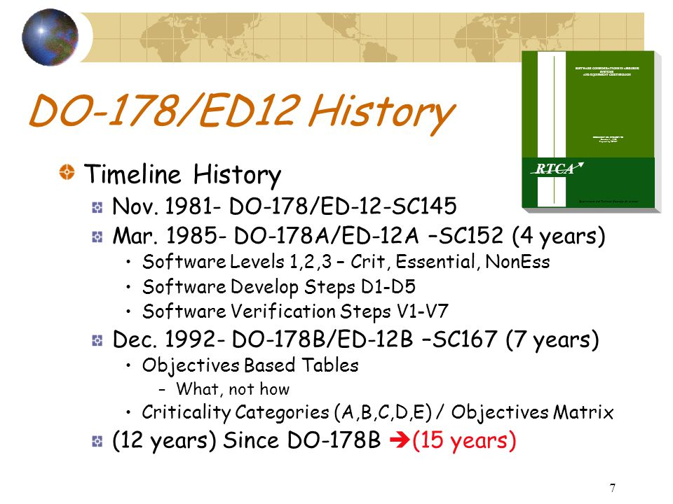 7 DO-178/ED12 History Timeline History Nov. 1981- DO-178/ED-12-SC145 Mar. 1985- DO-178A/ED-12A –SC152 (4 years) Software Levels 1,2,3 – Crit, Essentia