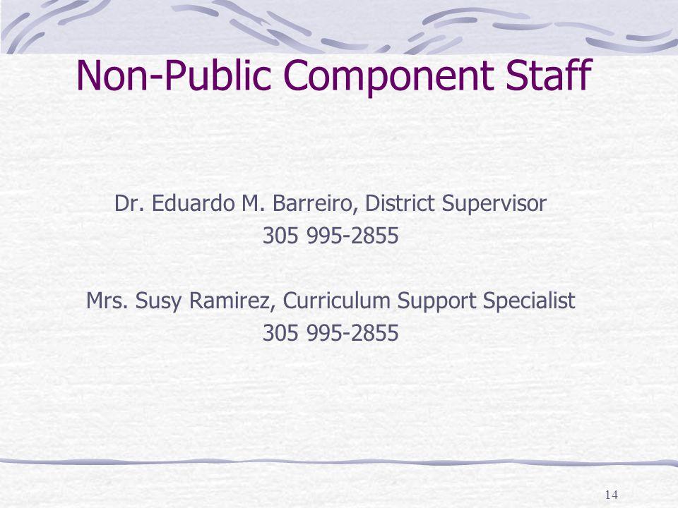 14 Non-Public Component Staff Dr. Eduardo M. Barreiro, District Supervisor 305 995-2855 Mrs. Susy Ramirez, Curriculum Support Specialist 305 995-2855