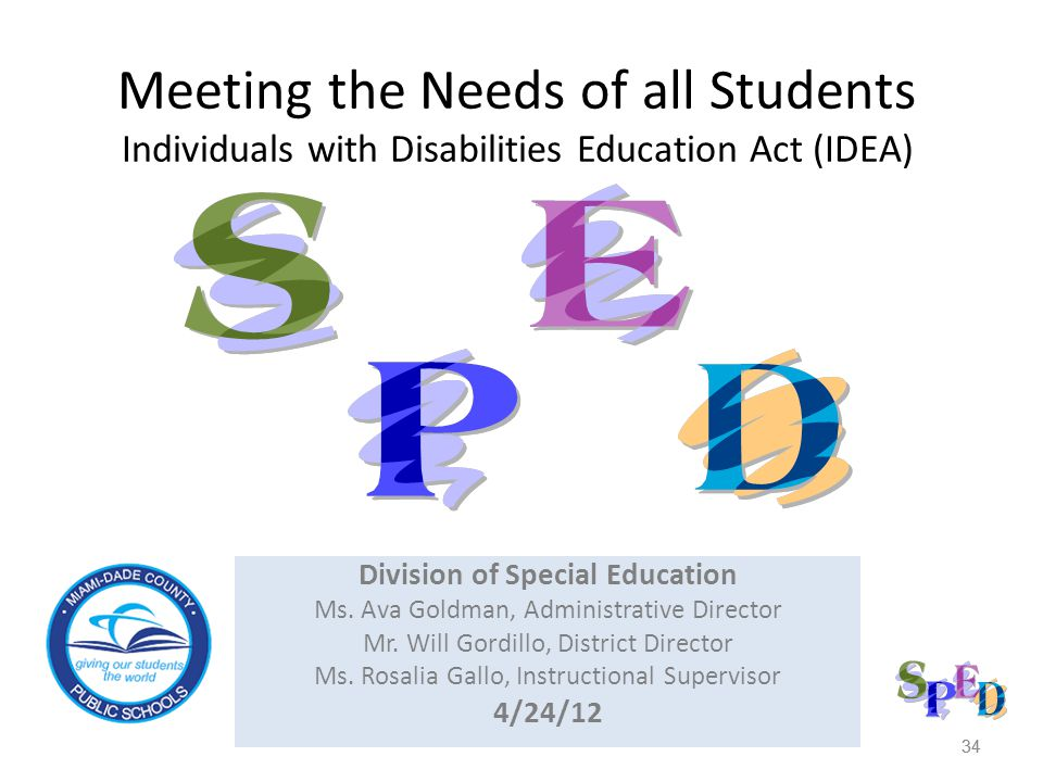 34 Division of Special Education Ms.Ava Goldman, Administrative Director Mr.