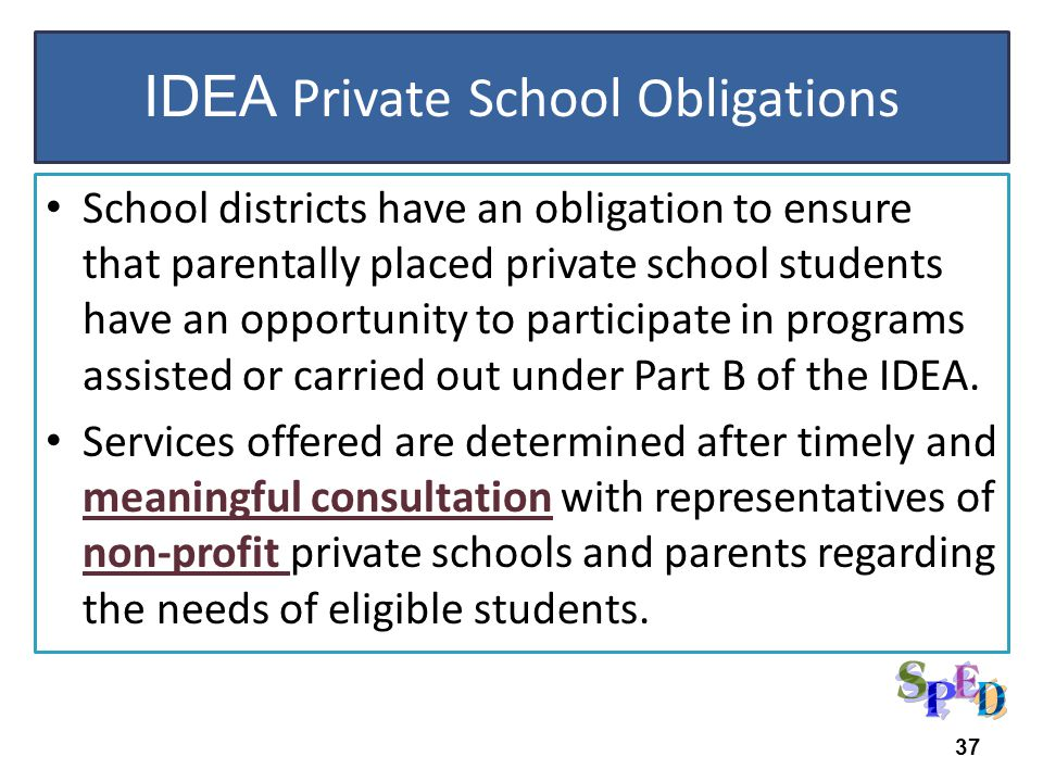 IDEA 2004 School districts have an obligation to ensure that parentally placed private school students have an opportunity to participate in programs assisted or carried out under Part B of the IDEA.