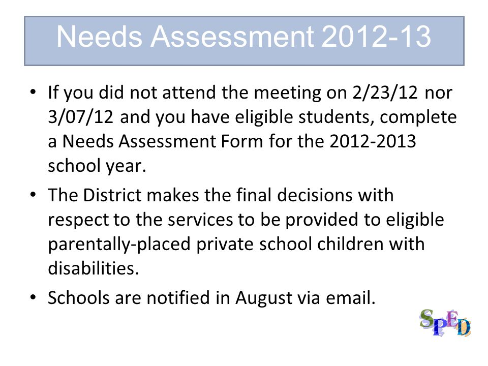 If you did not attend the meeting on 2/23/12 nor 3/07/12 and you have eligible students, complete a Needs Assessment Form for the 2012-2013 school year.