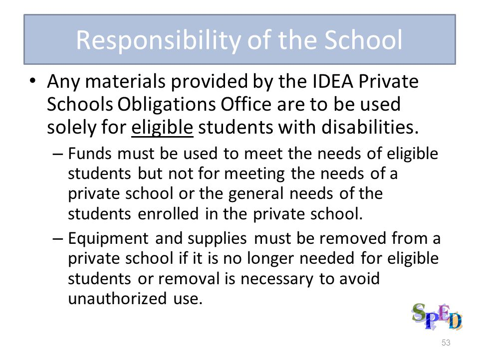 Responsibility of the School Any materials provided by the IDEA Private Schools Obligations Office are to be used solely for eligible students with di