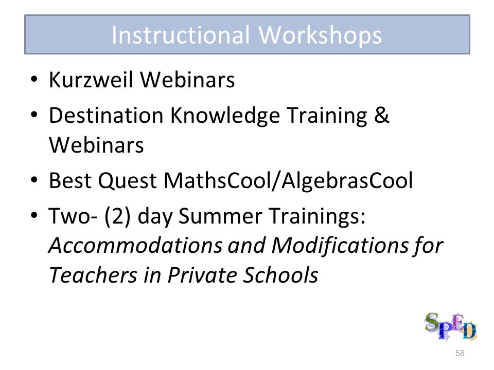 Instructional Workshops Kurzweil Webinars Destination Knowledge Training & Webinars Best Quest MathsCool/AlgebrasCool Two- (2) day Summer Trainings: A