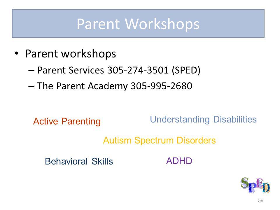 59 Parent Workshops Parent workshops – Parent Services 305-274-3501 (SPED) – The Parent Academy 305-995-2680 Active Parenting Understanding Disabilities ADHD Behavioral Skills Autism Spectrum Disorders