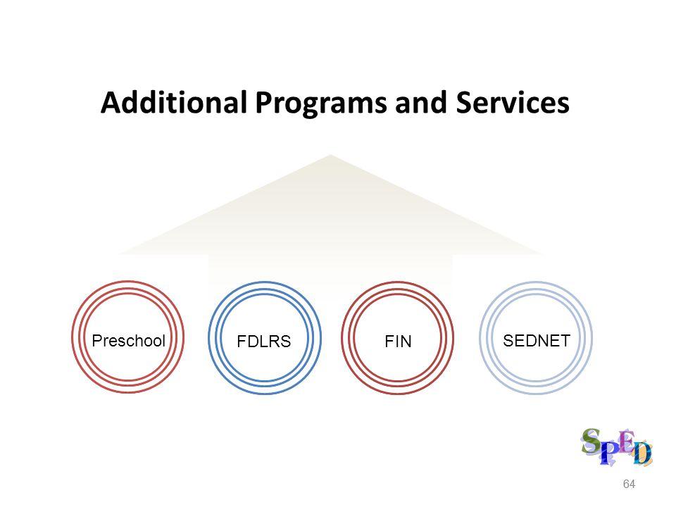 64 Additional Programs and Services Preschool FINFDLRS SEDNET