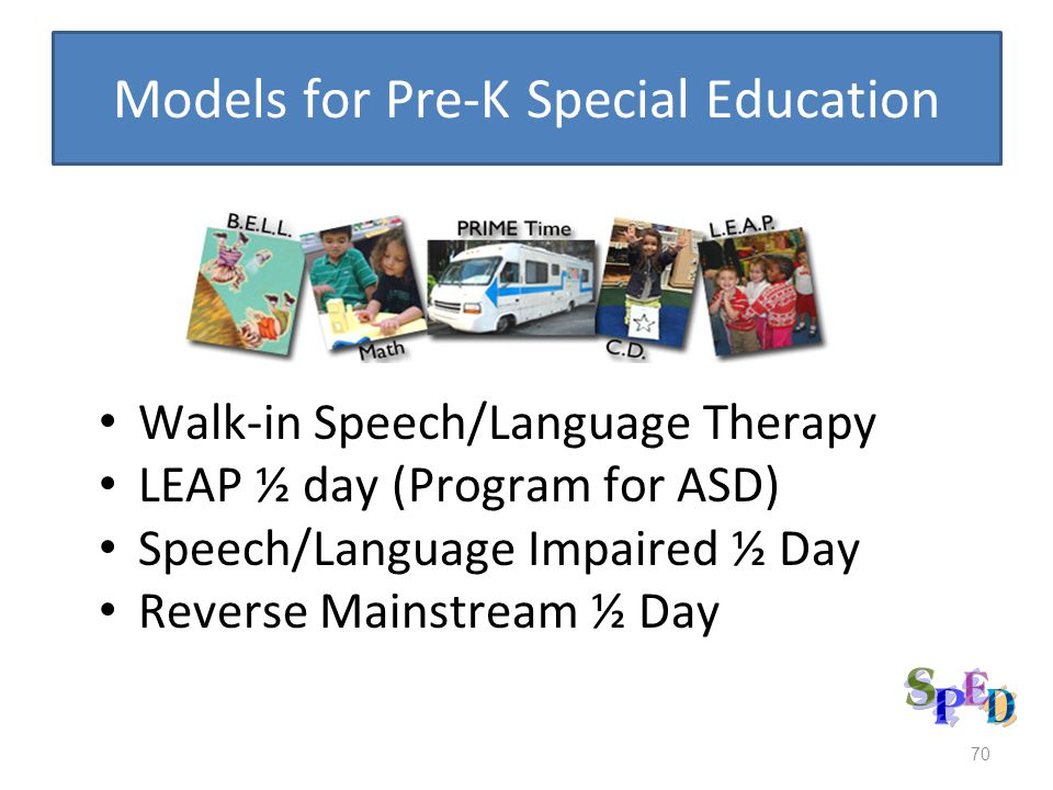Models for Pre-K Special Education Walk-in Speech/Language Therapy LEAP ½ day (Program for ASD) Speech/Language Impaired ½ Day Reverse Mainstream ½ Day 70