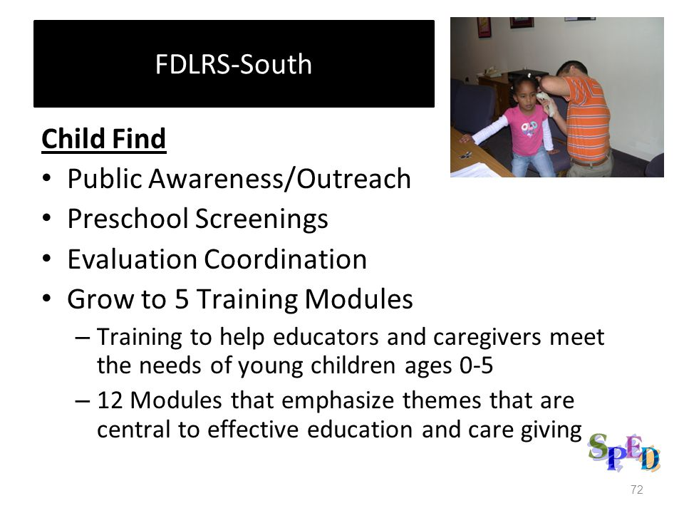 FDLRS-South Child Find Public Awareness/Outreach Preschool Screenings Evaluation Coordination Grow to 5 Training Modules – Training to help educators and caregivers meet the needs of young children ages 0-5 – 12 Modules that emphasize themes that are central to effective education and care giving 72