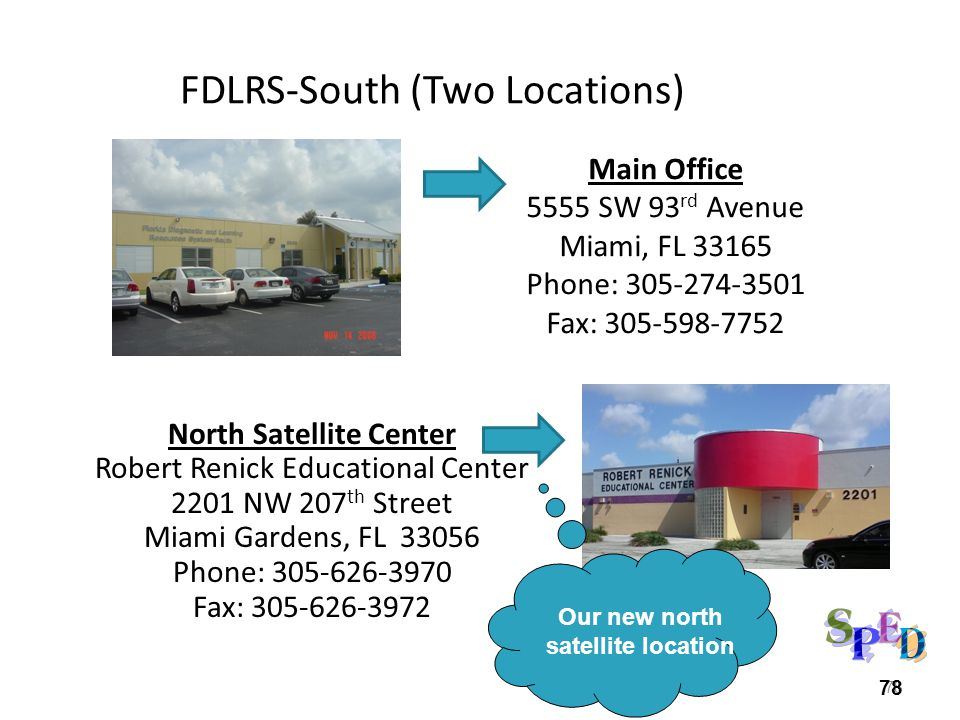 78 FDLRS-South (Two Locations) Main Office 5555 SW 93 rd Avenue Miami, FL 33165 Phone: 305-274-3501 Fax: 305-598-7752 78 North Satellite Center Robert Renick Educational Center 2201 NW 207 th Street Miami Gardens, FL 33056 Phone: 305-626-3970 Fax: 305-626-3972 Our new north satellite location