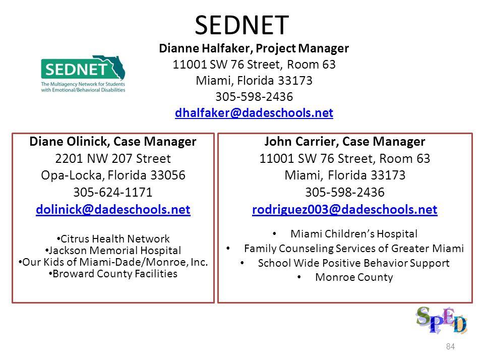 SEDNET Dianne Halfaker, Project Manager 11001 SW 76 Street, Room 63 Miami, Florida 33173 305-598-2436 dhalfaker@dadeschools.net John Carrier, Case Man