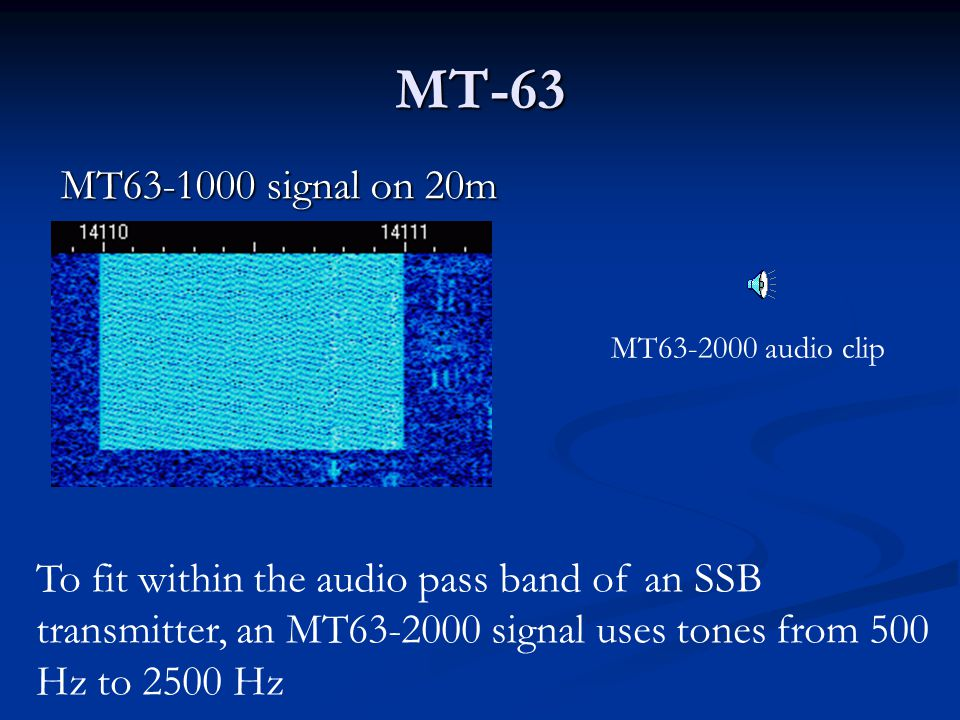 MT-63 Computer and audio interface requirements are the same as mentioned for PSK-31 Computer and audio interface requirements are the same as mention