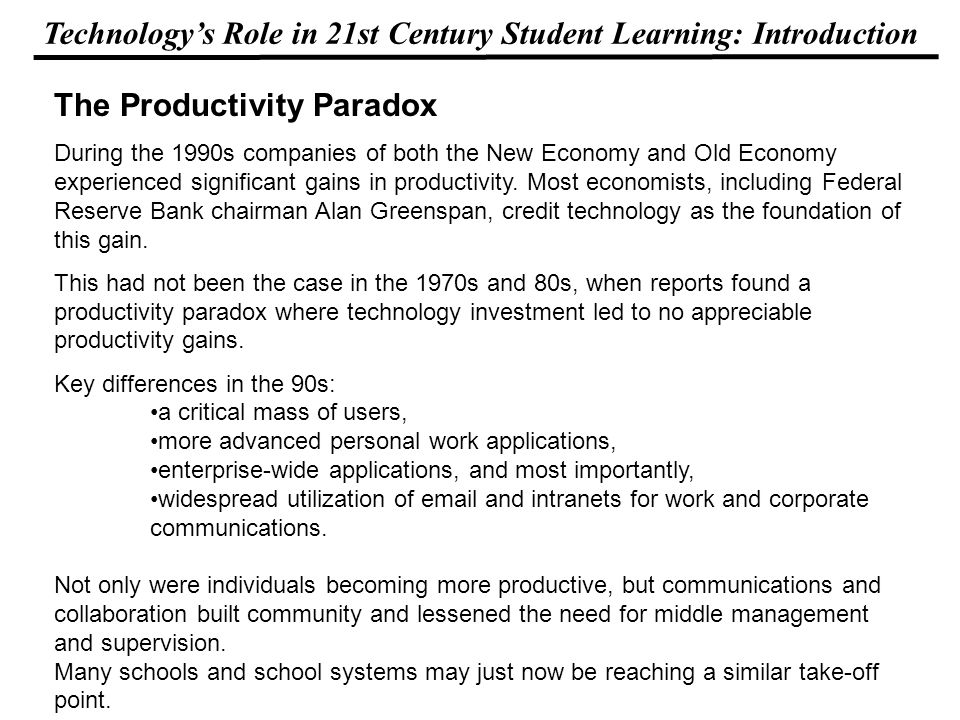 Technologys Role in 21st Century Student Learning: Introduction Hello, Empowering Students With Technology, my new book about powerful stories and pra