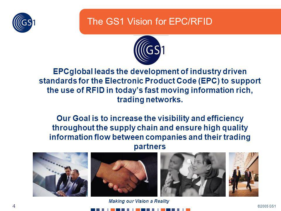 ©2005 GS1 55 Making our Vision a Reality Step 4 – Trial Ensure EPCglobal is a plausible solution in their environment Choose 1 or 2 items Read in only 1 -3 locations Scenario: Tag a single product (pallet) going in an out of cold storage and at the dock door 2.1 Standards Ensure you are using the correct standards 2.3 EPCglobal Network Architecture Provides solution partners a guide to the EPCglobal Network 2.5 EPCglobal Compliance Certification Ensures products meet the EPCglobal standards 4.1 Readers & Infrastructure Information guide for solution partner on how to set up hardware