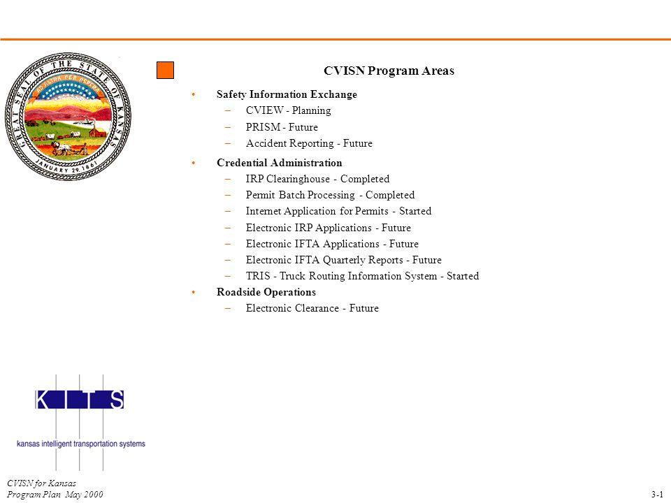CVISN for Kansas Program Plan May 2000 CVISN Program Areas Safety Information Exchange –CVIEW - Planning –PRISM - Future –Accident Reporting - Future