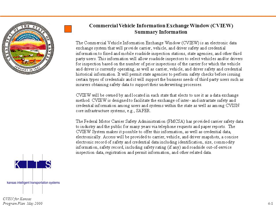 CVISN for Kansas Program Plan May 2000 Commercial Vehicle Information Exchange Window (CVIEW) Summary Information 4-1