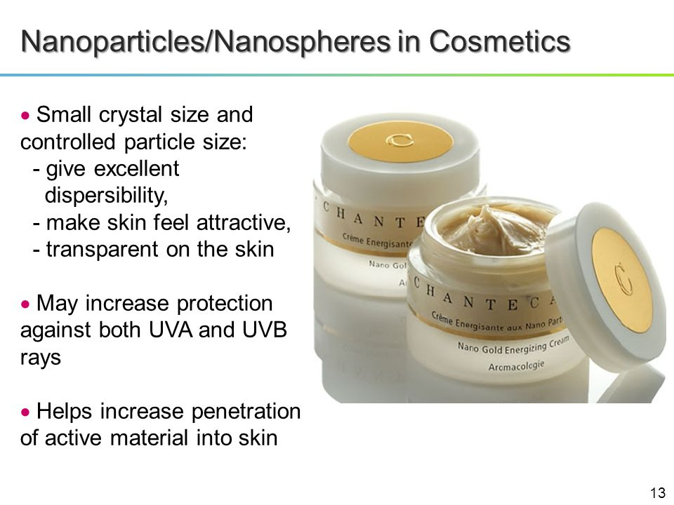 Nanoparticles/Nanospheres in Cosmetics Small crystal size and controlled particle size: - give excellent dispersibility, - make skin feel attractive,