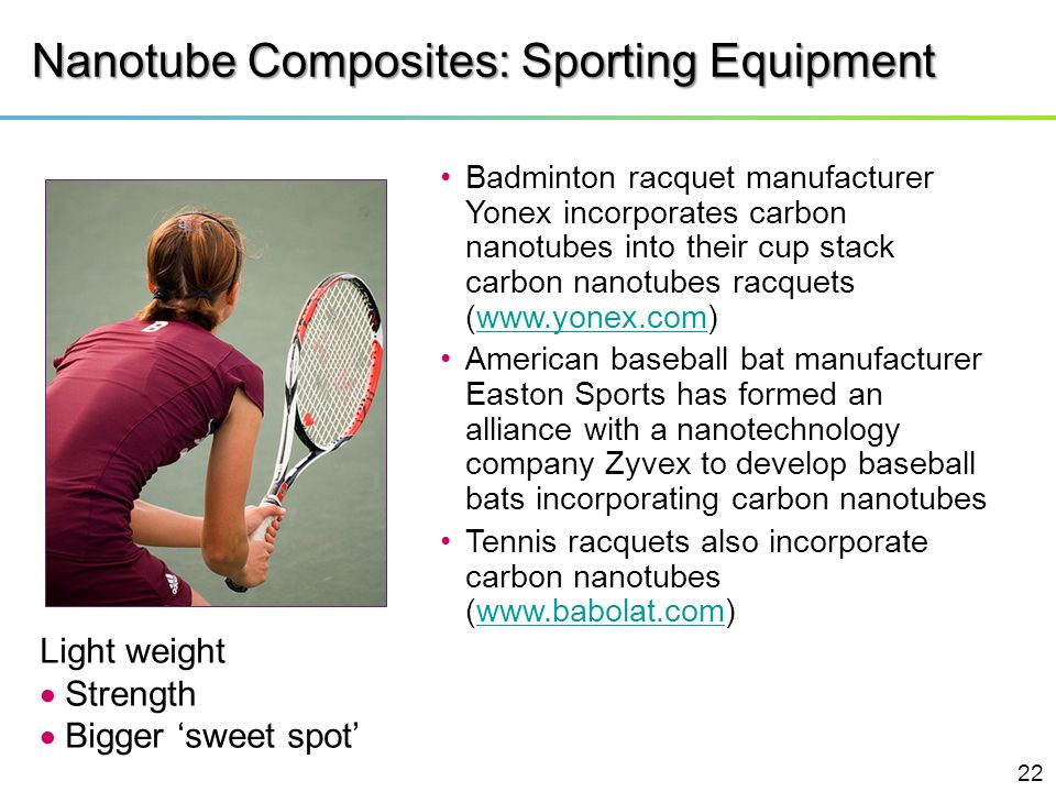Nanotube Composites: Sporting Equipment Badminton racquet manufacturer Yonex incorporates carbon nanotubes into their cup stack carbon nanotubes racqu