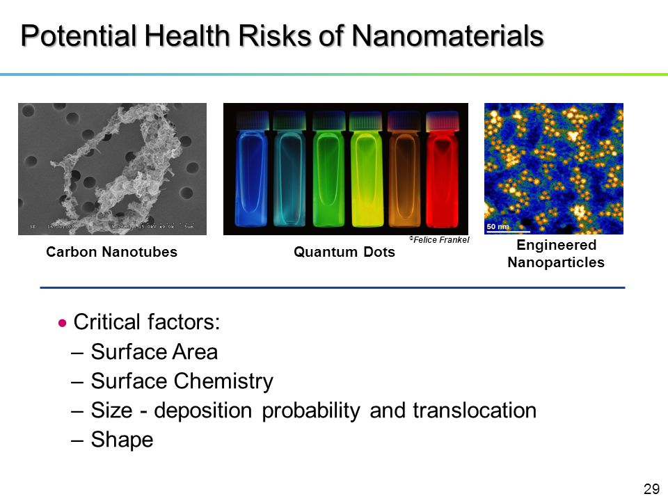 Potential Health Risks of Nanomaterials Critical factors: –Surface Area –Surface Chemistry –Size - deposition probability and translocation –Shape Car