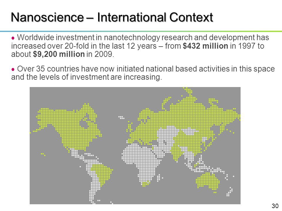 Nanoscience – International Context Worldwide investment in nanotechnology research and development has increased over 20-fold in the last 12 years –