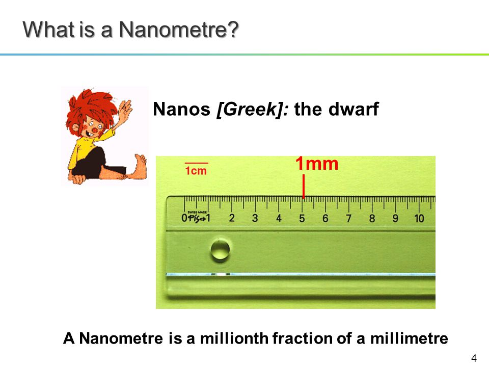 What is a Nanometre? Nanos [Greek]: the dwarf A Nanometre is a millionth fraction of a millimetre 1mm 4