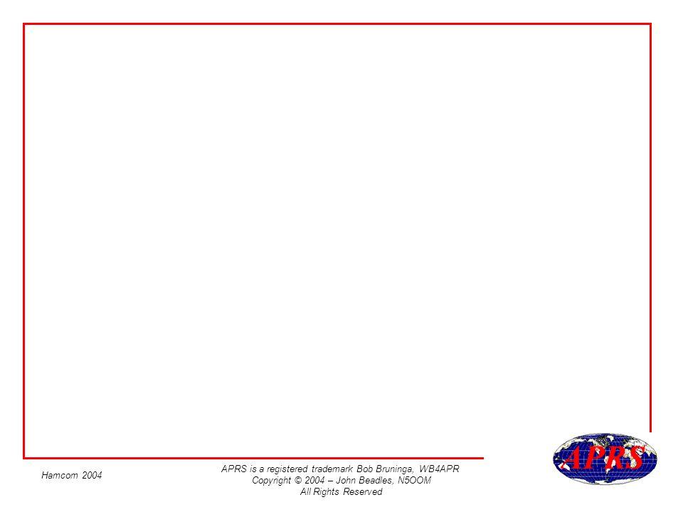 APRS is a registered trademark Bob Bruninga, WB4APR Copyright © 2004 – John Beadles, N5OOM All Rights Reserved Hamcom 2004