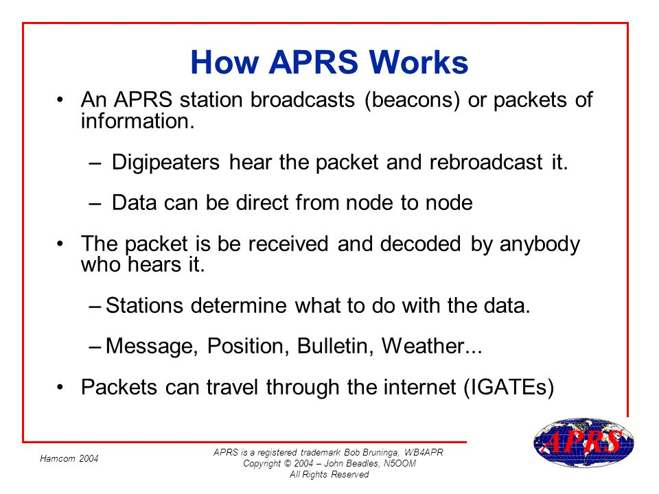 APRS is a registered trademark Bob Bruninga, WB4APR Copyright © 2004 – John Beadles, N5OOM All Rights Reserved Hamcom 2004 Example (1) – Mobile Station Beacons Step 1.