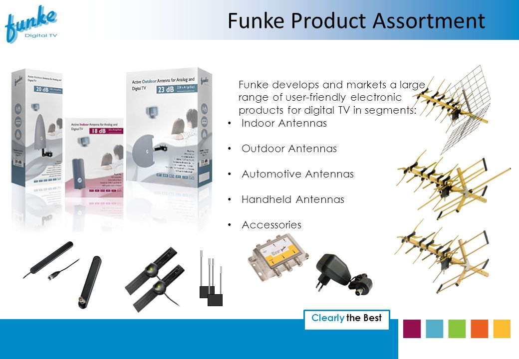 Clearly the Best Funke develops and markets a large range of user-friendly electronic products for digital TV in segments: Indoor Antennas Outdoor Antennas Automotive Antennas Handheld Antennas Accessories Funke Product Assortment