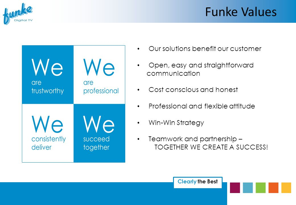 Clearly the Best Our solutions benefit our customer Open, easy and straightforward communication Cost conscious and honest Professional and flexible attitude Win-Win Strategy Teamwork and partnership – TOGETHER WE CREATE A SUCCESS.