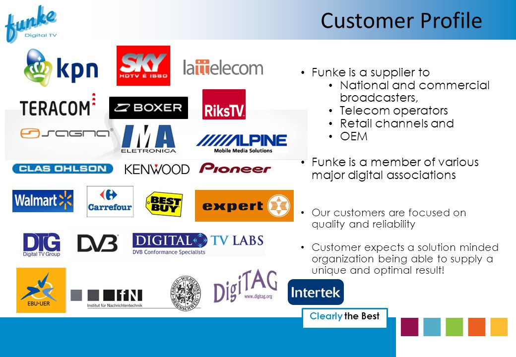 Clearly the Best Funke is a supplier to National and commercial broadcasters, Telecom operators Retail channels and OEM Funke is a member of various major digital associations Our customers are focused on quality and reliability Customer expects a solution minded organization being able to supply a unique and optimal result.