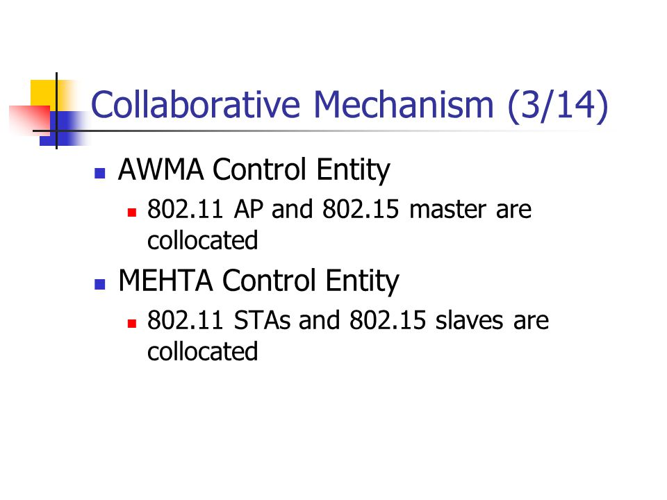 Collaborative Mechanism (3/14) AWMA Control Entity 802.11 AP and 802.15 master are collocated MEHTA Control Entity 802.11 STAs and 802.15 slaves are c