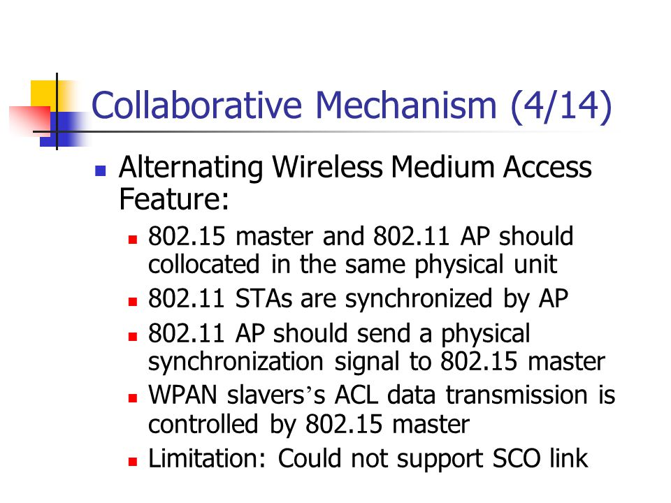 Collaborative Mechanism (4/14) Alternating Wireless Medium Access Feature: 802.15 master and 802.11 AP should collocated in the same physical unit 802