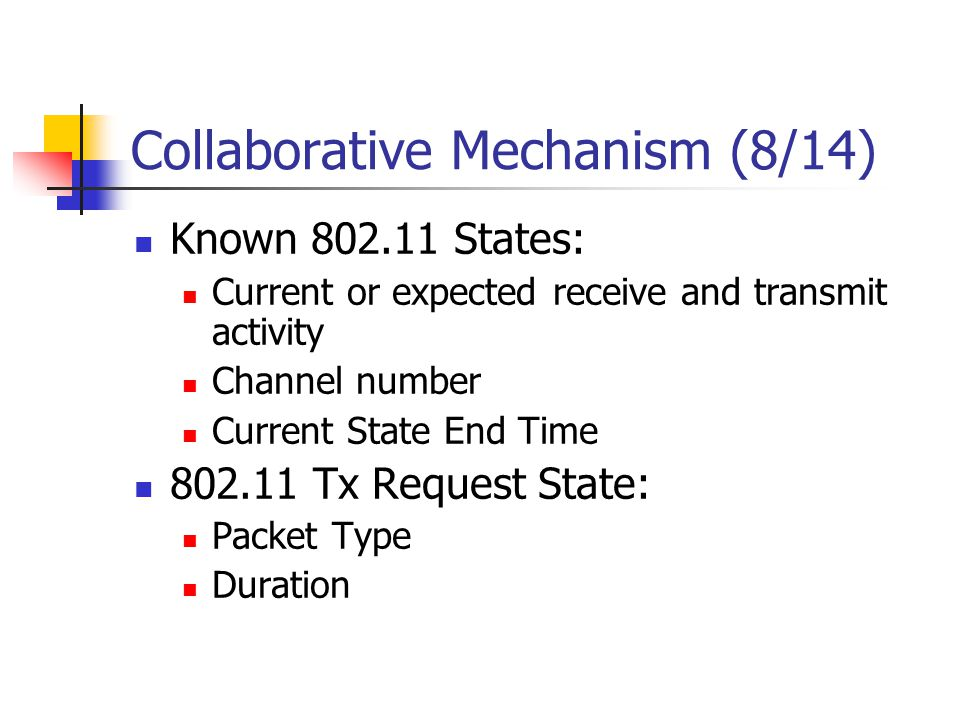 Collaborative Mechanism (8/14) Known 802.11 States: Current or expected receive and transmit activity Channel number Current State End Time 802.11 Tx