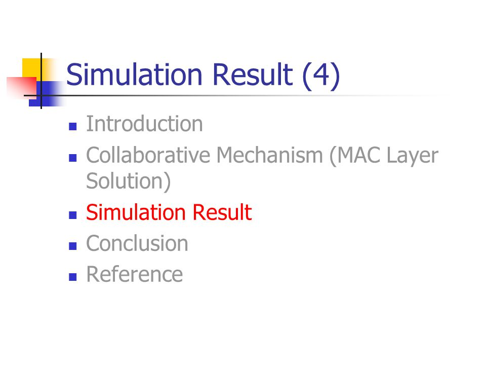 Simulation Result (4) Introduction Collaborative Mechanism (MAC Layer Solution) Simulation Result Conclusion Reference