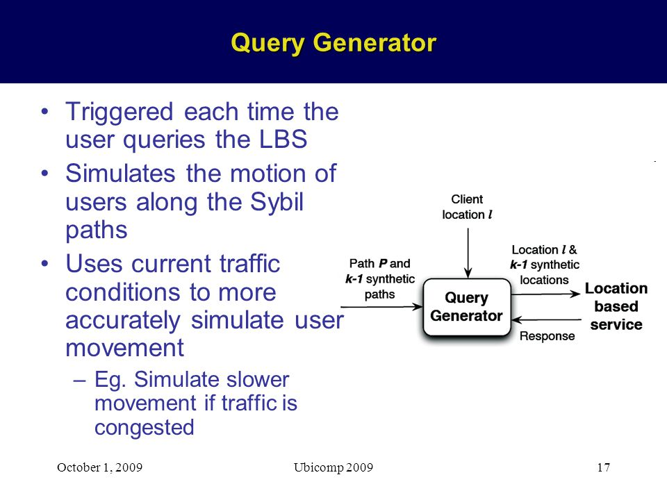 October 1, 2009Ubicomp 200917 Query Generator Triggered each time the user queries the LBS Simulates the motion of users along the Sybil paths Uses current traffic conditions to more accurately simulate user movement –Eg.