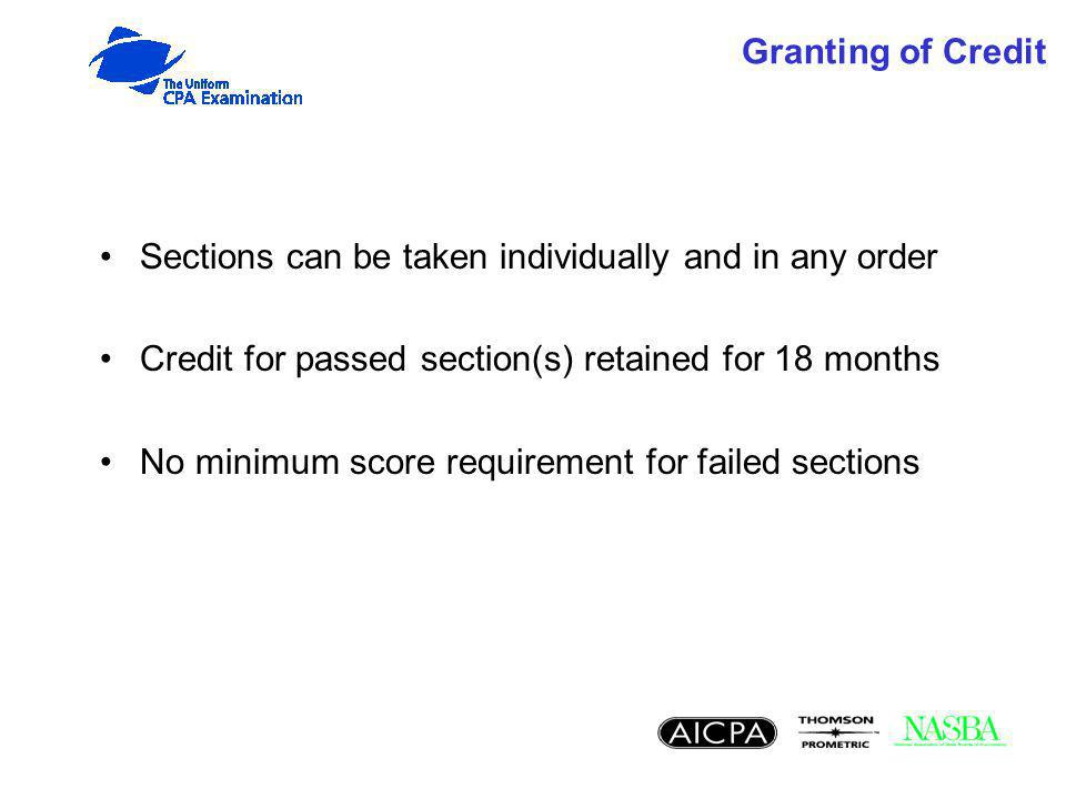 Granting of Credit Sections can be taken individually and in any order Credit for passed section(s) retained for 18 months No minimum score requirement for failed sections