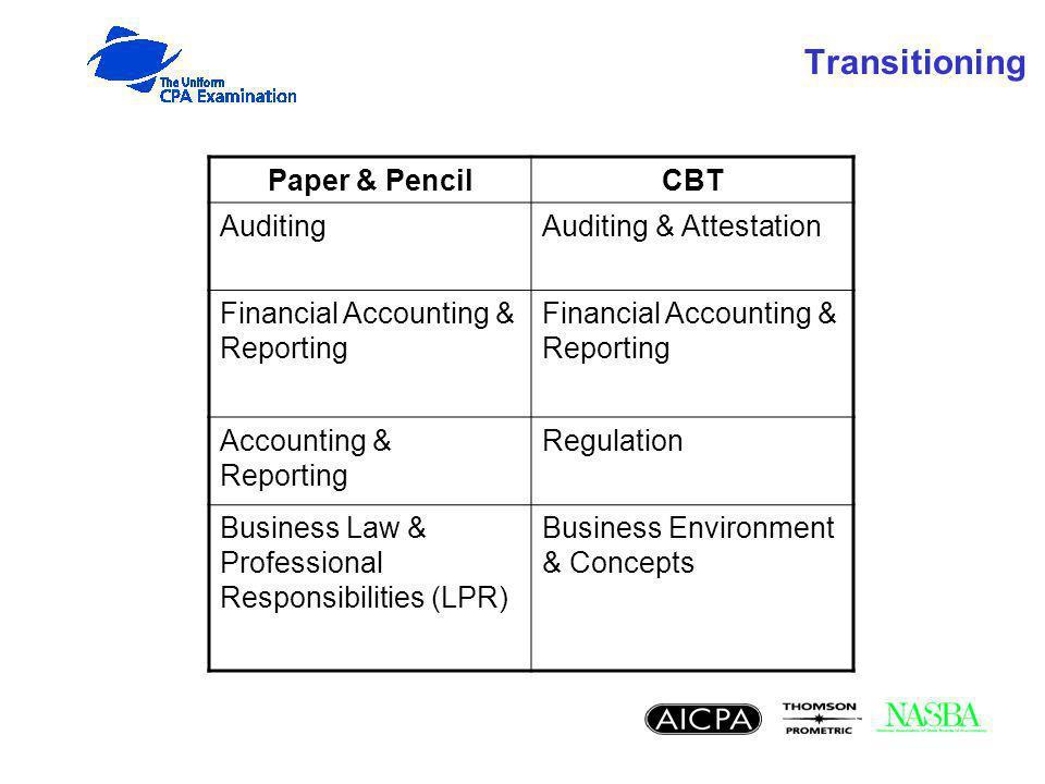 Transitioning Paper & PencilCBT AuditingAuditing & Attestation Financial Accounting & Reporting Accounting & Reporting Regulation Business Law & Profe