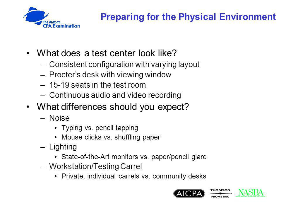 Preparing for the Physical Environment What does a test center look like? –Consistent configuration with varying layout –Procters desk with viewing wi