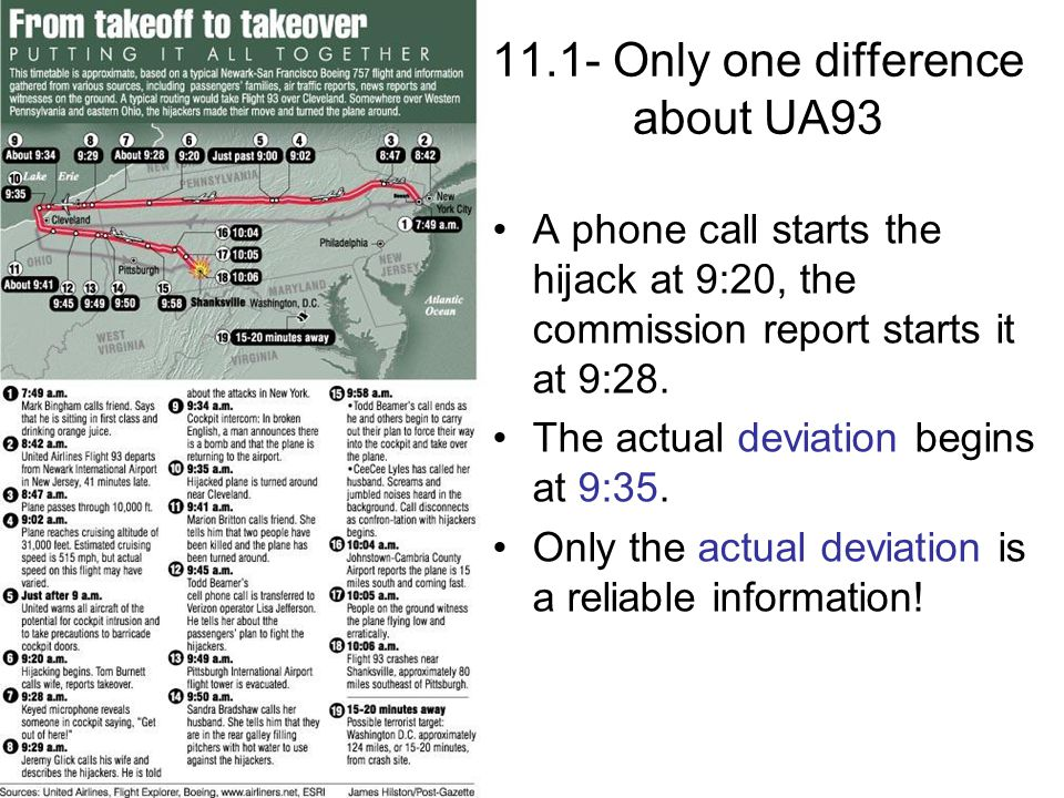 11.1- Only one difference about UA93 A phone call starts the hijack at 9:20, the commission report starts it at 9:28. The actual deviation begins at 9